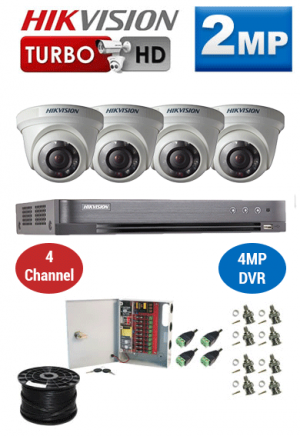 2MP Custom HIKVISION Turbo HD Package - 1080P 4Ch DVR, 4 Dome Cameras
