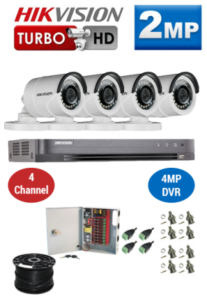 2MP Custom HIKVISION Turbo HD Package - 1080P 4Ch DVR, 4 Bullet Cameras