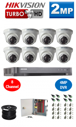 2MP Custom HIKVISION Turbo HD Package - 1080P 8Ch DVR, 8 Dome Cameras