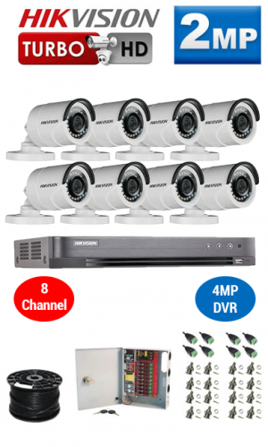 2MP Custom HIKVISION Turbo HD Package - 1080P 8Ch DVR, 8 Bullet Cameras