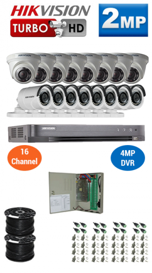 2MP Custom HIKVISION Turbo HD Package - 1080P 16Ch DVR, 16 Bullet & Dome Cameras