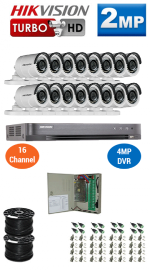 2MP Custom HIKVISION Turbo HD Package - 1080P 16Ch DVR, 16 Bullet Cameras