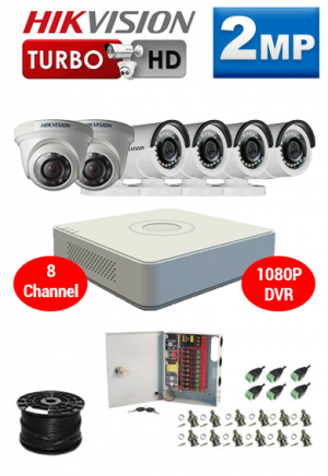 2MP Custom HIKVISION Turbo HD Package - 1080P 8Ch DVR, 6 Bullet and Dome Cameras