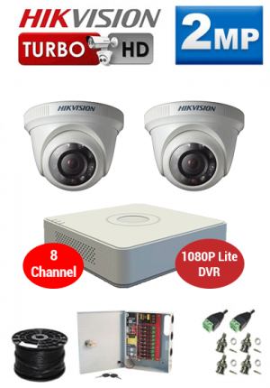 2MP Custom HIKVISION Turbo HD Package - 1080P Lite 8Ch DVR, 2 Dome Cameras