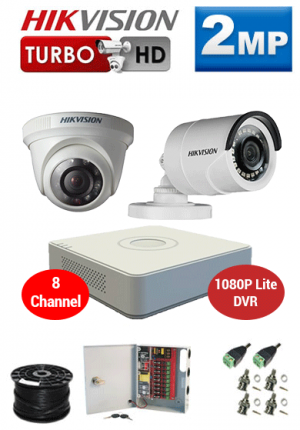 2MP Custom HIKVISION Turbo HD Package - 1080P Lite 8Ch DVR, 2 Bullet & Dome Cameras