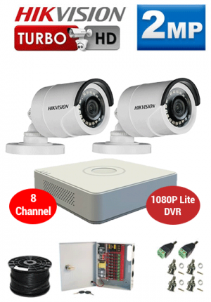 2MP Custom HIKVISION Turbo HD Package - 8Ch 1080P Lite DVR, 2 Bullet Cameras