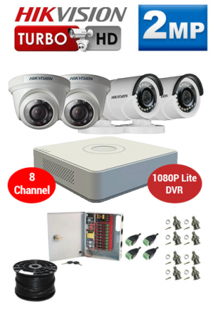 2MP Custom HIKVISION Turbo HD Package - 1080P Lite 8Ch DVR, 4 Dome Cameras