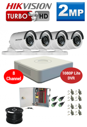 2MP Custom HIKVISION Turbo HD Package - 1080P Lite 8Ch DVR, 4 Bullet Cameras