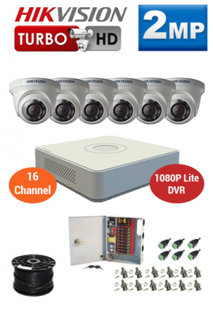 2MP Custom HIKVISION Turbo HD Package - 1080P Lite 16Ch DVR, 6 Dome Cameras