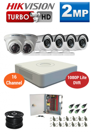 2MP Custom HIKVISION Turbo HD Package - 1080P Lite 16Ch DVR, 6 Bullet and Dome Cameras