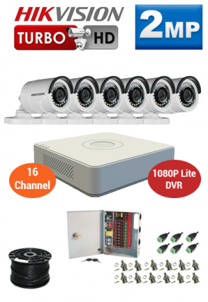 2MP Custom HIKVISION Turbo HD Package - 1080P Lite 16Ch DVR, 6 Bullet Cameras