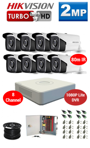 2MP Custom HIKVISION Turbo HD Package - 1080P Lite 8Ch DVR, 8x 80m IR Bullet Cameras