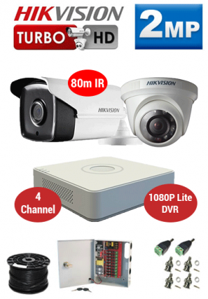 2MP Custom HIKVISION Turbo HD Package - 1080P Lite 4Ch DVR, 2x 80m Bullet & Dome Cameras