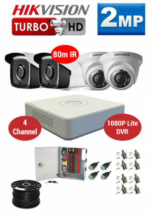2MP Custom HIKVISION Turbo HD Package - 1080P Lite 4Ch DVR, 4x 80m IR Bullet & Dome Cameras