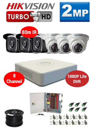 2MP Custom HIKVISION Turbo HD Package - 1080P Lite 8Ch DVR, 6x 80m IR Dome and Bullet Cameras