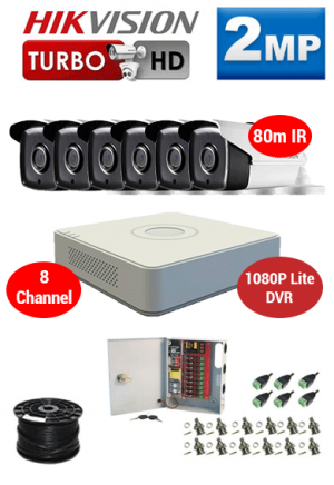2MP Custom HIKVISION Turbo HD Package - 1080P Lite 8Ch DVR, 6x 80m IR Bullet Cameras