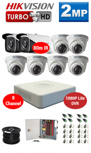 2MP Custom HIKVISION Turbo HD Package - 1080P Lite 8Ch DVR, 8x 80m IR Bullet & Dome Cameras