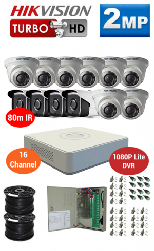2MP Custom HIKVISION Turbo HD Package - 1080P Lite 16Ch DVR, 12x 80m IR Bullet & Dome Cameras