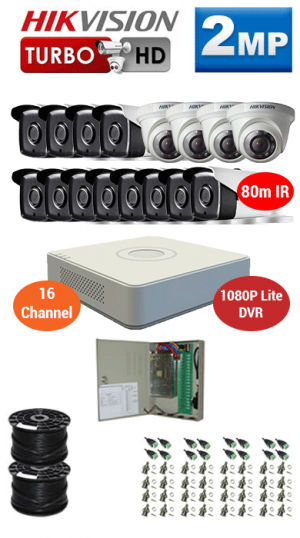 2MP Custom HIKVISION Turbo HD Package - 1080P Lite 16Ch DVR, 16x 80m IR Bullet & Dome Cameras