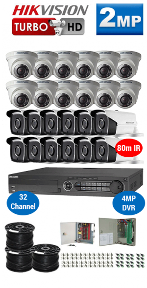 2MP Custom HIKVISION Turbo HD Package - 1080P 32Ch DVR, 24x 80m IR Bullet & Dome Cameras