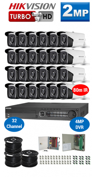 2MP Custom HIKVISION Turbo HD Package - 1080P 32Ch DVR, 24x 80m IR Bullet Cameras