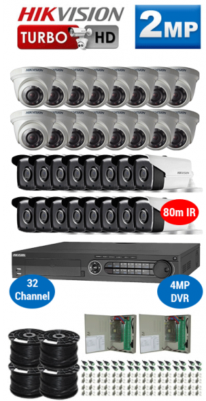 2MP Custom HIKVISION Turbo HD Package - 1080P 32Ch DVR, 32x 80m IR Bullet & Dome Cameras