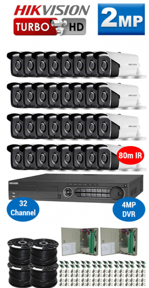 2MP Custom HIKVISION Turbo HD Package - 1080P 32Ch DVR, 32x 80m IR Bullet Cameras