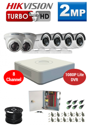 2MP Custom HIKVISION Turbo HD Package - 1080P Lite 8Ch DVR, 6 Dome and Bullet Cameras