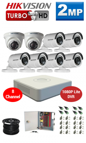 2MP Custom HIKVISION Turbo HD Package - 1080P Lite 8Ch DVR, 8 Bullet & Dome Cameras
