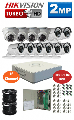 2MP Custom HIKVISION Turbo HD Package - 1080P Lite 16Ch DVR, 12 Bullet & Dome Cameras