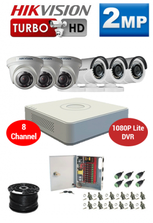 2MP Custom HIKVISION Turbo HD Package - 1080P Lite 8Ch DVR, 6 Dome Cameras
