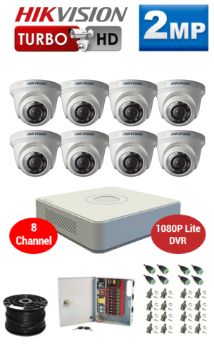 2MP Custom HIKVISION Turbo HD Package - 1080P Lite 8Ch DVR, 8 Dome Cameras