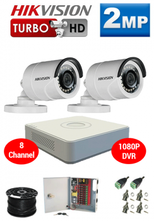 2MP Custom HIKVISION Turbo HD Package - 8Ch 1080P DVR, 2 Bullet Cameras