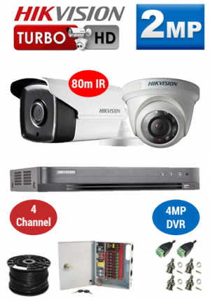 2MP Custom HIKVISION Turbo HD Package - 4MP 4Ch DVR, 2x 80m Bullet & Dome Cameras