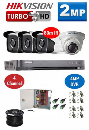 2MP Custom HIKVISION Turbo HD Package - 4MP 4Ch DVR, 4x 80m IR Bullet & Dome Cameras