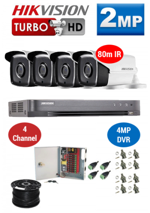 2MP Custom HIKVISION Turbo HD Package - 4MP 4Ch DVR, 4x 80m IR Bullet Cameras