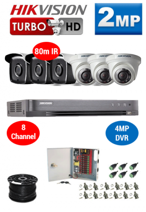 2MP Custom HIKVISION Turbo HD Package - 4MP 8Ch DVR, 6x 80m IR Dome and Bullet Cameras