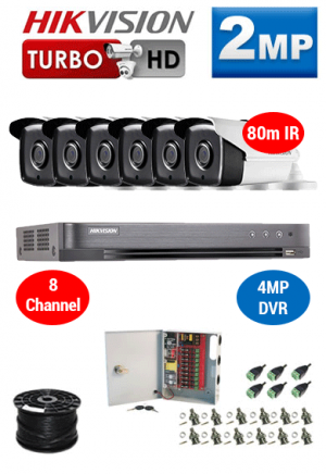 2MP Custom HIKVISION Turbo HD Package - 4MP 8Ch DVR, 6x 80m IR Bullet Cameras