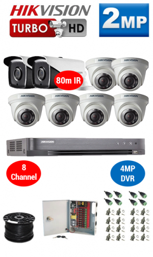 2MP Custom HIKVISION Turbo HD Package - 4MP 8Ch DVR, 8x 80m IR Bullet & Dome Cameras