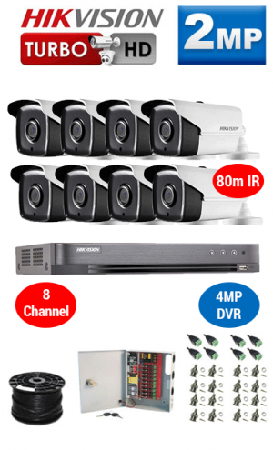 2MP Custom HIKVISION Turbo HD Package - 4MP 8Ch DVR, 8x 80m IR Bullet Cameras