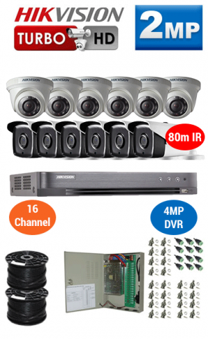 2MP Custom HIKVISION Turbo HD Package - 4MP 16Ch DVR, 12x 80m IR Bullet & Dome Cameras