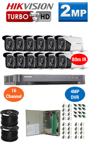 2MP Custom HIKVISION Turbo HD Package - 4MP 16Ch DVR, 12x 80m IR Bullet Cameras