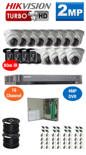 2MP Custom HIKVISION Turbo HD Package - 4MP 16Ch DVR, 16x 80m IR Bullet & Dome Cameras