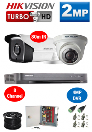 2MP Custom HIKVISION Turbo HD Package - 4MP 8Ch DVR, 2x 80m Bullet & Dome Cameras