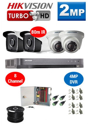 2MP Custom HIKVISION Turbo HD Package - 4MP 8Ch DVR, 4x 80m IR Bullet & Dome Cameras