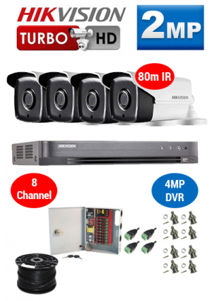 2MP Custom HIKVISION Turbo HD Package - 4MP 8Ch DVR, 4x 80m IR Bullet Cameras