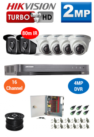 2MP Custom HIKVISION Turbo HD Package - 4MP 16Ch DVR, 6x 80m IR Dome and Bullet Cameras