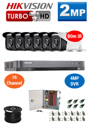 2MP Custom HIKVISION Turbo HD Package - 4MP 16Ch DVR, 6x 80m IR Bullet Cameras