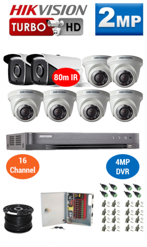 2MP Custom HIKVISION Turbo HD Package - 4MP 16Ch DVR, 8x 80m IR Bullet & Dome Cameras