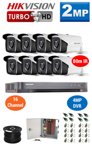 2MP Custom HIKVISION Turbo HD Package - 4MP 16Ch DVR, 8x 80m IR Bullet Cameras